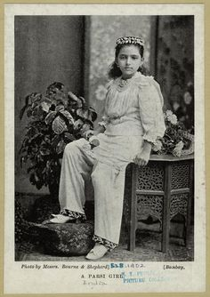 A Parsi girl. Image Title: A Parsi girl. Creator: Bourne & Shepherd -- Photographer Additional Name(s): Sedgwick Museum -- Associated name Published Date: 1902 White Man, Black And White, India Images, Vintage India, Native Style, British Colonial, My Heritage, Indian Ethnic, Indian Beauty