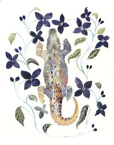 Alligator and Clematis  8 x 10 Archival Print by unitedthread, $20.00
