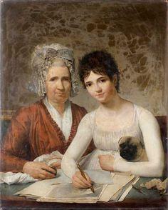 Victor Maximilien POTAIN (Versailles 1759-1841) Portrait de Marie-Adrienne Potain, épouse de l'architecte Pierre Rousseau, et de sa fille Rose-Marie Charlotte Rousseau tenant son chiot Sur sa toile d'origine 92,5 × 73,5 cm