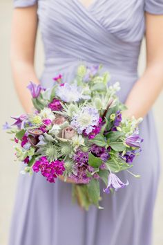 Romantic Garden Wedding at Caramoor, image by Elisabeth Millay, flowers by Violet and Verde via Style Me Pretty Bride Bouquets, Flower Bouquet Wedding, Bridesmaid Bouquet, Floral Bouquets, Bridesmaid Dresses, Purple Wedding, Floral Wedding, Dream Wedding, Wedding Inspiration