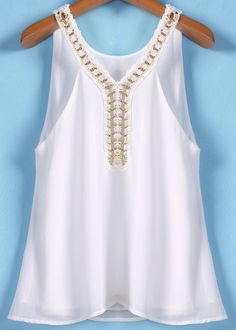 To find out about the White Chain Spaghetti Strap Chiffon Vest at SHEIN, part of our latest Tank Tops & Camis ready to shop online today! White Shirts Women, Blouses For Women, White Ruffle Blouse, Modelos Fashion, Dress Neck Designs, Dressy Tops, Couture, Blouse Dress, Red Blouses