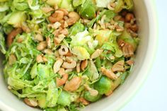 """""""A Salad that Will Make You Love Salad"""" - Shaved Brussels Sprouts, Pineapple, Avocado, and Sea Salt Roasted Cashew Salad inspired by Joy the Baker"""