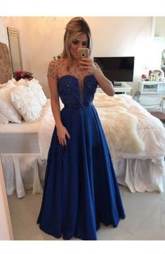 Cheap formal party gowns, Buy Quality party gown directly from China vestido formal Suppliers: A-Line Long Prom Dresses Hand Beading On Lace Prom Dress Sheers Short Sleeves Vestidos Formal Party Gowns Modest Prom Gowns, Prom Dresses 2016, Tulle Prom Dress, Cheap Prom Dresses, Prom Party Dresses, Sheer Dress, Strapless Dress Formal, Dress Party, Royal Blue Evening Dress