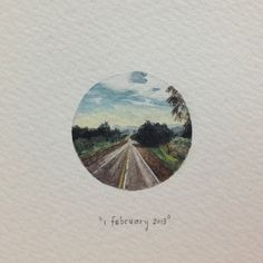 Day 32 : Life right now is workworkworkwork. Why? WANDERLUST. The road is life. (inspired by my little traveling friend @kellyberold). 23 x 23 mm. #365paintingsforants #watercolour #miniature #travel #theroad