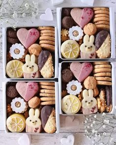 christmas cookie box Bunny love cookie tins for Easter Cookie Tray, Cookie Gifts, Food Gifts, Cookie Gift Boxes, Christmas Baking, Christmas Cookies, Cute Food, Yummy Food, Dessert Boxes
