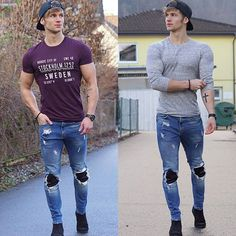 Left or right? Men Street Look, Tight Jeans Men, Mens Fashion Suits, Super Skinny Jeans, Men Casual, Menswear, Leather Jeans, Street Fashion, Clothing