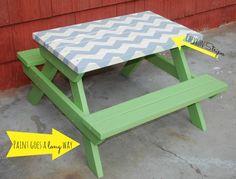 Chevron stripe picnic table Painted Picnic Tables, Pallet Picnic Tables, Kids Picnic Table, Patio Table, Diy Table, Picnic Time, Pallette Furniture, Pallet Furniture Designs, Furniture Projects