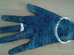 Bague et bracelet en fil alu et papier alu