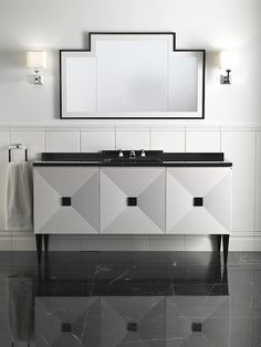 devon & devon black and white contemporary vanity with widespread polished chrome lav faucet - the ultimate guide to luxury plumbing by the delight of design Contemporary Vanity, Bathroom Interior, Beautiful Bathrooms, Elegant Bathroom, Art Deco Bathroom, Vanity Units, Bathroom Furniture, Home Decor, Bathroom Design