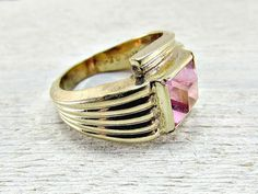 Vintage UNCAS Mens Gold Ring, Mens Pink Tourmaline Glass Ring, 10K Gold Filled Ring, Cool Mens Ring Gift, Size 7, 1960s Unique Mens Jewelry by RedGarnetVintage on Etsy