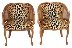 Custom Cheetah Bucket Chairs, Pair $1579