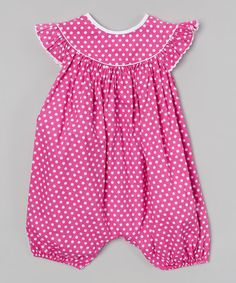 Look at this #zulilyfind! Pink Polka Dot Angel-Sleeve Bubble Playsuit - Infant & Toddler #zulilyfinds