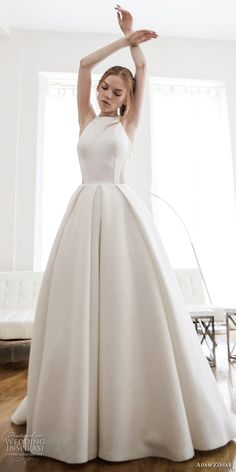 adam zohar 2017 bridal sleeveless halter neck simple clean classic ball gown wedding dress rasor back chapel train (17) mv