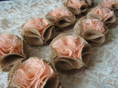 Rustic Orange Flowers Wholesale Burlap Rosettes by Mydaisy2000, $25.00
