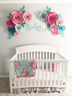 Flowers can be purchased at ruffledblues.etsy.com //  Aqua Floral Nursery || Paper Flowers || Floral Arrangement Over Crib || Crib Wall Decor