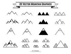 20 Vector Mountain Graphics, Hand-Drawn Mountain Clip Art, 300 dpi, 1 EPS, Individualized PNGs
