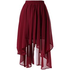 Chicwish Wine Red Asymmetric Waterfall Skirt (930 HNL) ❤ liked on Polyvore featuring skirts, bottoms, red, red skirt, waterfall skirt, red asymmetrical skirt, red pleated skirt and chiffon skirts