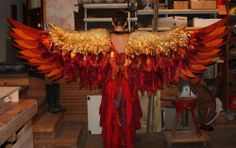 Phoenix costume for Edible Alien Theatre by The Echo Exchange Theatre Costumes, Cool Costumes, Dance Costumes, Cosplay Costumes, Halloween Costumes, Costume Ideas, Halloween Wings, Carnival Costumes, Fire Costume