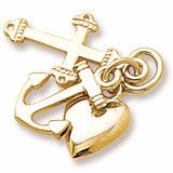 Faith,Hope,Charity Charm In Yellow Gold