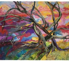 Felted Trees #1 by Charlotte Hickman from the Hands All Around Exhibit. 2014 Houston International Quilt Festival