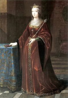 Isabella I of Castile; 1485. This was painted after her death (which was the year 1504), but I did the year '1485' because it appears it was based of a portrait that was forgotten of her pregnant with the future Queen Katherine of Aragon (the first wife of Henry VIII).