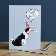 Tarjeta de cumpleaños de Border Collie por SweetWilliamLondon