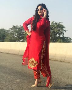 Image may eee:eeeeeeee 1 person, standing and outdoor Pakistani Dresses, Indian Dresses, Indian Outfits, Designer Punjabi Suits, Indian Designer Outfits, Kaur B Suits, Cute Red Dresses, Embroidery Suits Punjabi, Trendy Suits