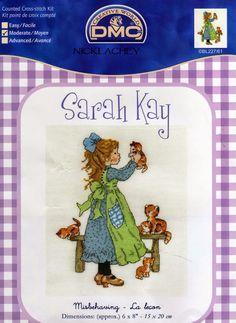 Schema punto croce Sarah Kay con il Gatto | Hobby lavori femminili - ricamo - uncinetto - maglia
