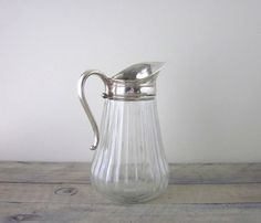 Vintage Glass Pitcher with Silver Plate Handle and by 22BayRoad, $26.00