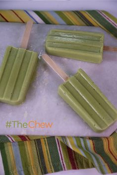 With only 3 ingredients, you'll have the perfect thing to give your little one for a snack! Try these Avocado Apple Baby Food Popsicles by Michael Symon. #TheChew