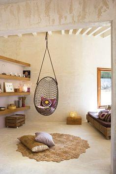 Hanging Pod Chair for Bedroom. Hanging Pod Chair for Bedroom. My New Room, My Room, Spare Room, Pod Chair, Swivel Chair, Chair Cushions, Deco Boheme, Bohemian House, Modern Bohemian