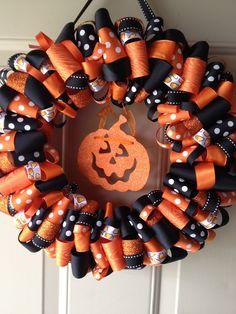 halloween wreaths | Katies Ribbon Wreaths: Halloween Candy Corn Ribbon Wreath