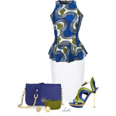 ♥A fashion look from July 2013 featuring african tops, cotton skirt and platform wedge sandals. Browse and shop related looks.