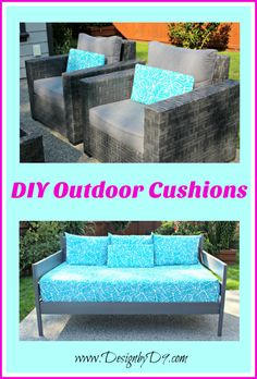 Make your own outdoor cushions for your patio furniture and coordinate your mis-matched pieces while adding a splash of colour! outdoor cushions DIY Outdoor Cushions - Add a Splash of Colour - Design by