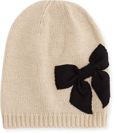 Kate Spade Stitched Bow Slouchy Beanie, Deco Beige on shopstyle.com