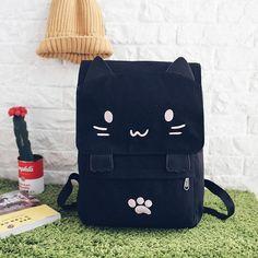 6451b418f2 Cute Cat Backpack Cartoon Embroidery Canvas