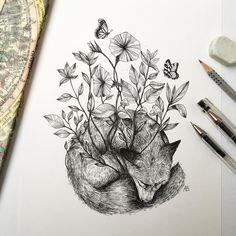 La naturaleza era mi jardín de infancia #fox #ink #drawing