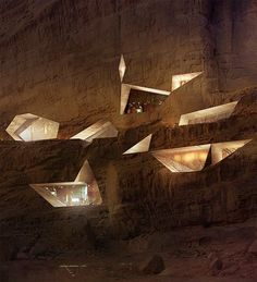 Designed by Oppenheim architects, Wadi Rum luxury resort carved into a mountain
