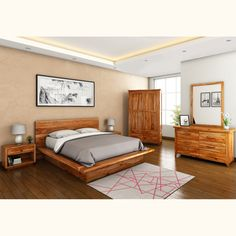 Selected from the Sierra Living Concepts fine furniture collection, the enchanting Delaware California King Size Platform Bed Bedroom Collection would make a splendid addition to your home's decor. Wood Bedroom Sets, Bedroom Bed Design, Modern Bedroom, Teen Bedroom, Solid Wood Platform Bed, Platform Bed Frame, Bedroom Furniture, Furniture Design, Bedroom Decor
