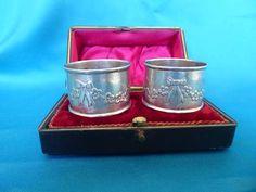 Pair of Keswick School silver boxed napkin rings - Marlin Antiques