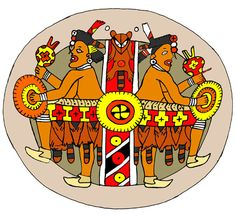 Southeastern Ceremonial Complex design from an engraved shell gorget, supposed to depict the Hero Twins, and the axis mundi as a striped pole decorated with raccoon. Illustration by Herb Roe.