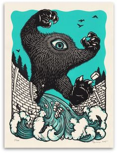 Peter Nivens ~ Kick Out The Dams! ~ Woodcut, 18 x 24 inch