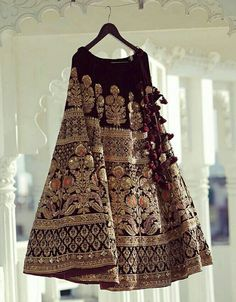 Sabyasachi maroon velvet bridal lehenga - All About Indian Bridal Outfits, Indian Bridal Wear, Pakistani Dresses, Indian Dresses, Bridal Lehenga Choli, Desi Clothes, Lehenga Designs, Indian Couture, Indian Attire