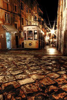 """""""Tranvia Nocturno, Night Streetcar"""" by J. A. Alcaide"""