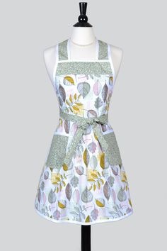 STELLA Retro Housewife Apron - Earthy Sage Leaves on White Womens Vintage Inspired Cute Housewife Kitchen Apron with Pocket by CreativeChics on Etsy