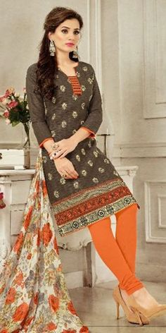 Hot Brown Cotton Straight Suit With Dupatta.