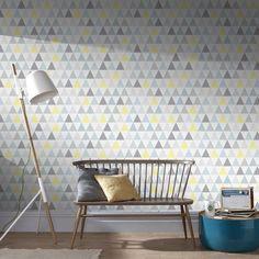 Tarek Jaune Wallpaper by Graham & Brown Brown Wallpaper, Modern Wallpaper, Geometric Wallpaper, Wallpaper Roll, Design Repeats, Simple Wallpapers, Triangle Design, Smart Furniture, Wallpaper Samples