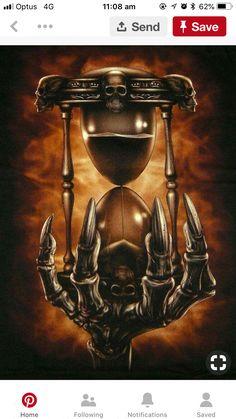 Time is running out Dark Artwork, Skull Artwork, Dark Art Drawings, Hourglass Drawing, Hourglass Tattoo, Grim Reaper Art, Grim Reaper Tattoo, Skull Tattoo Design, Skull Tattoos
