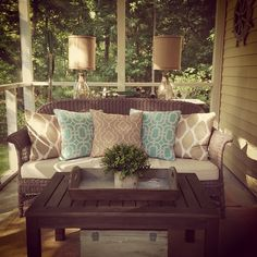 Ideas wicker patio furniture makeover screened porches for 2019 Patio Furniture Makeover, Porch Makeover, Wicker Patio Furniture, Outdoor Furniture Sets, Furniture Ideas, Screened In Porch Furniture, Up House, House With Porch, Outdoor Rooms