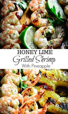 This honey lime grilled shrimp and pineapple recipe is one of those dishes you can whip up on any busy weeknights and have plenty of time to actually relax. You can make this on the grill or grill pan. #shrimp #paleo #seafood #weeknightdinner, #weeknightdinner #pineapple #quickmeals #calmeats #glutenfreedinner #grilling #seafood #grilledshrimp Whole30 Fish Recipes, Grilling Recipes, Seafood Recipes, Vegetarian Recipes, Meat Recipes, Pineapple Recipes, Healthiest Seafood, Healthy Summer Recipes, Dairy Free Recipes